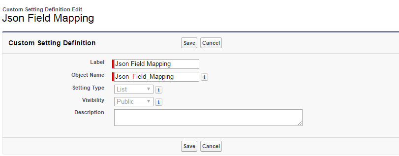 Json Field Mapping Custom Settings
