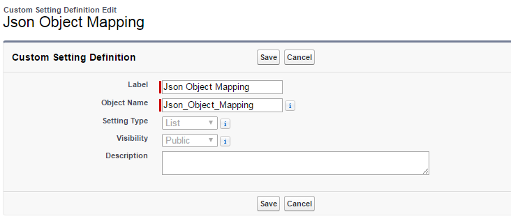 Json Object Mapping Custom Settings