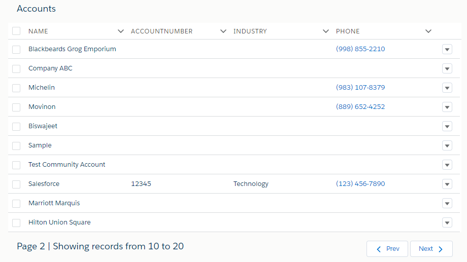 Salesforce Lightning Datatable With Pagination – Biswajeet