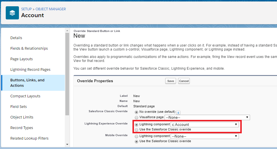 Override Standard Buttons in Salesforce Lightning Experience